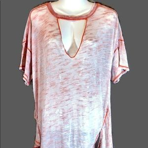 Free People Oversize Coral Burn Out T-Shirt, Small